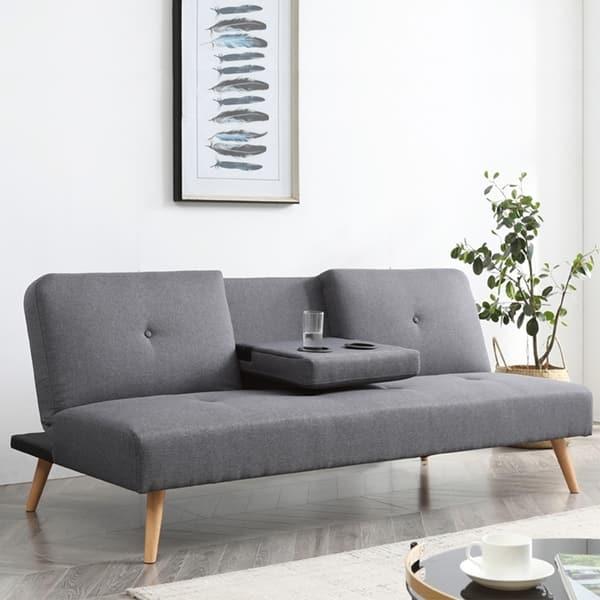 Hobbs Upholstered Grey Convertible Futon Sofa Overstock 30416911