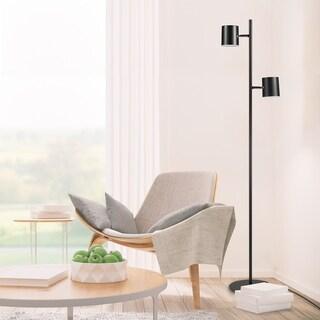 Link to Porch & Den Mira Matte Black 2-Light LED 3-Way Dimmer Floor Lamp Similar Items in Intimates