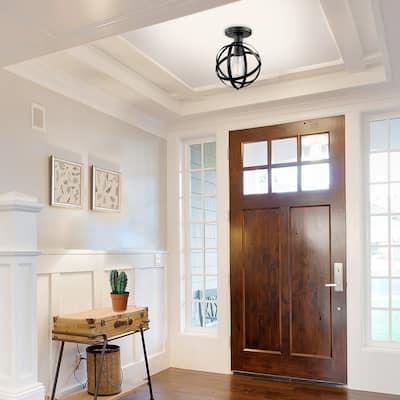 Carbon Loft Gideon 1-light Dark Bronze Flush Mount Ceiling Light