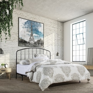 Carbon Loft Cronkite Black Metal Headboard with Arched Spindle Design and Frame