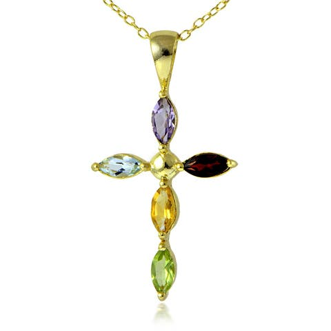 Glitzy Rocks 18k Gold over Silver Multi-gemstone Cross Necklace