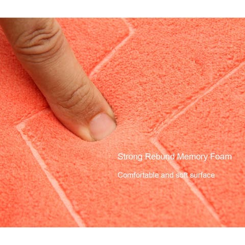 Zigzag Geometric Chevron Bath Mat Non-Skid Memory Foam
