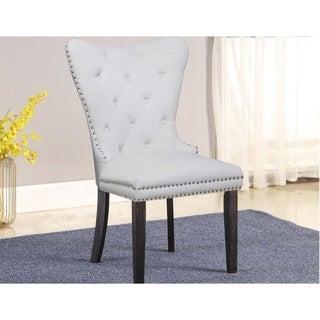 Best Master Furniture Upholstered Tufted Beige Side Chair (Set of 2)