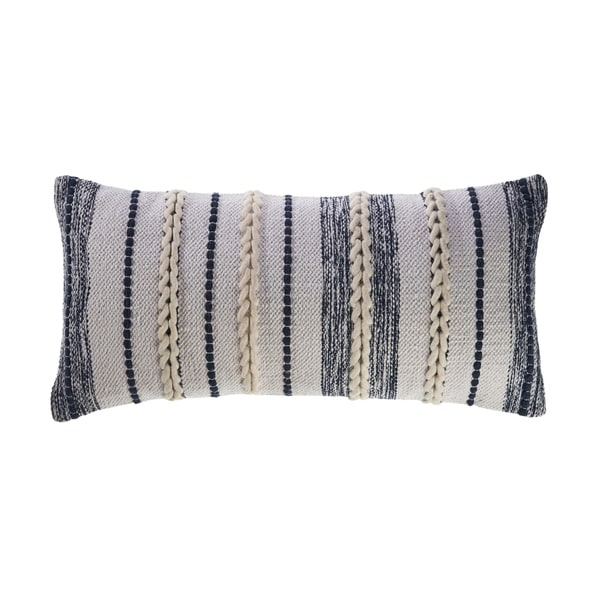 Braided White and Navy Contemporary Throw Pillow