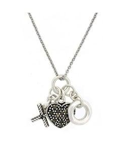 Glitzy Rocks Sterling Silver Marcasite Charm Necklace