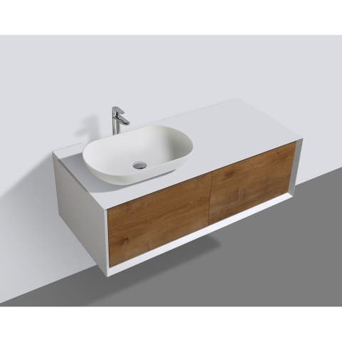 Alma-Fiona 48 inch Nature Wood Finish Wall Mount Vanity with Vessel Sink / Sink on the Left