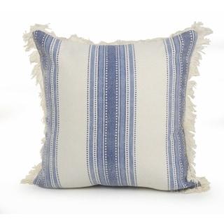 Coastal Striped Blue and Cream Throw Pillow