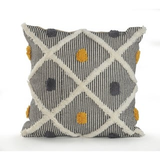 Striped and Tufted Multicolored Throw Pillow
