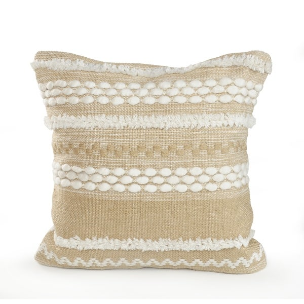 Neutral Textured Embroidered Throw Pillow