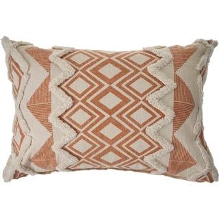 Geometric Burnt Orange and Cream Throw Pillow