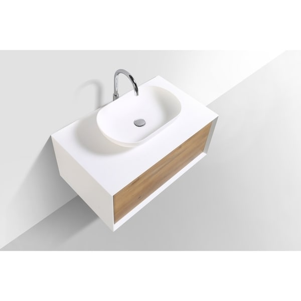 Alma-Fiona 36 inch Nature Wood Finish Wall Mount Vanity with Vessel Sink. Opens flyout.