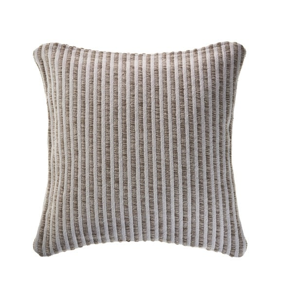 Beige and Cream Striped Throw Pillow