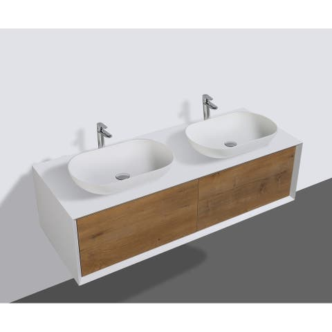 Alma-Fiona 55 inch Nature Wood Finish Wall Mount Vanity with Double Vessel Sinks