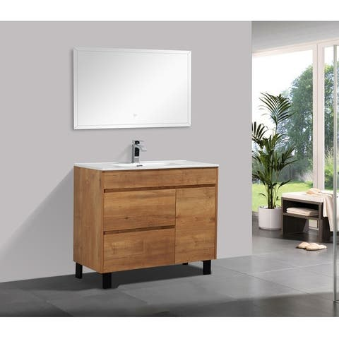 Carbon Loft Kang 40-inch Natural Wood Finish Free-standing Vanity with Integrated Ceramic Sink