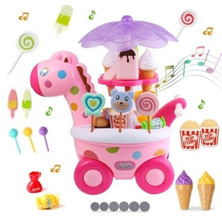 Mini Rotary Ice Cream Candy Cart with Light and Music