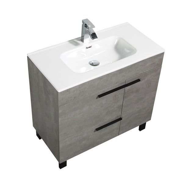 Alam-Gill 36 inch Cement Grey Free Standing Vanity with integrated Ceramic Sink