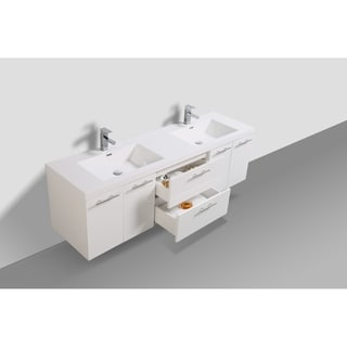 Alam Luxury 72 inch Gloss White Wall Mount Double Sink Vanity with Integrated Sink