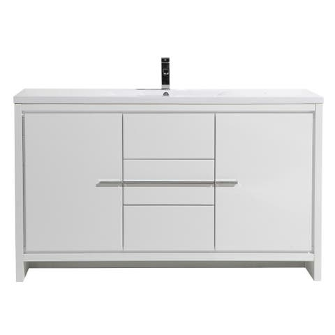 Alma-Allier 60 inch Free Standing Vanity with Integrated Sink