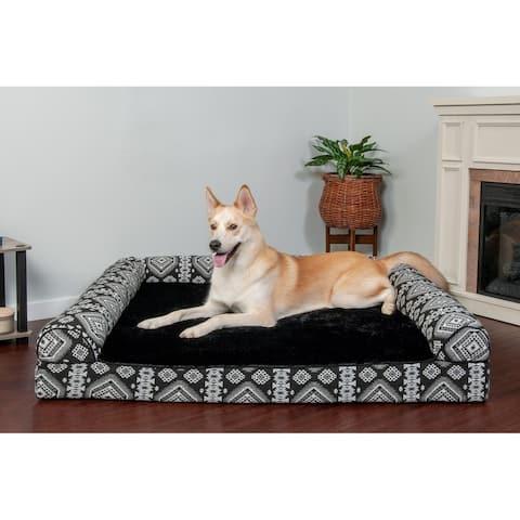 FurHaven Pet Bed Southwest Kilim Memory Foam Sofa Dog Bed