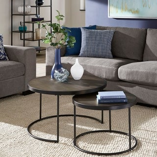 Downing Black Finish Round Nesting Coffee Table with Faux Stingray Top by iNSPIRE Q Modern