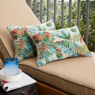 Havenside Home Red and Green Leaves Oblong Indoor/Outdoor Corded Chair Pillows (Set of 2)