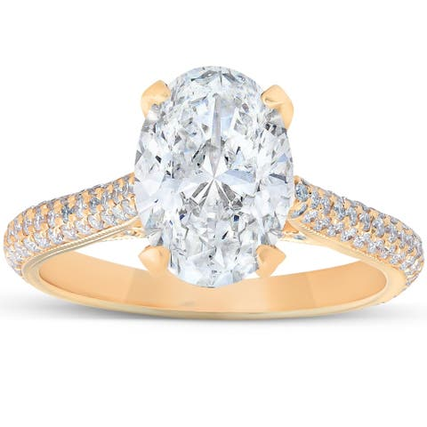 18k Yellow Gold 2.68 Ct Oval Moissanite & Diamond Micropave Engagement Ring (H/VS)