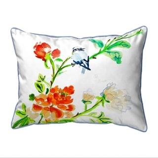 Blue Bird & Flowers Large Pillow 16x20