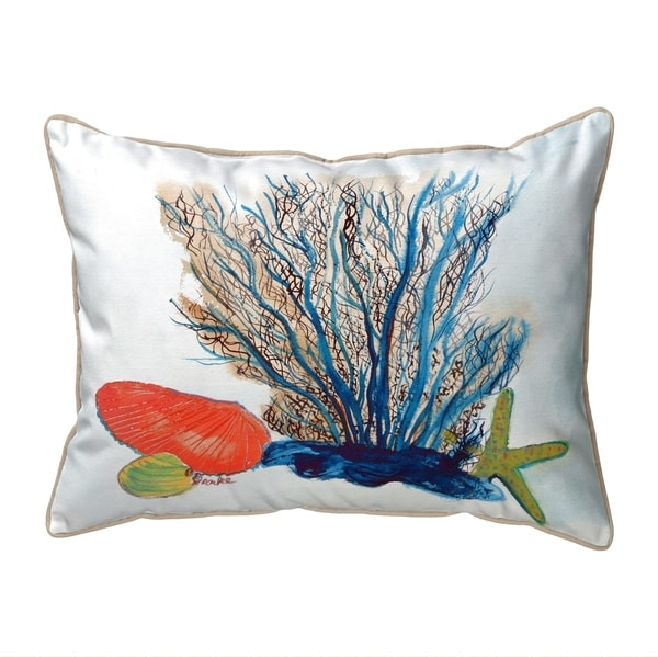 Coral & Shells Large Corded Pillow 16x20