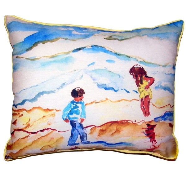 Wading at the Beach Large Pillow 16x20