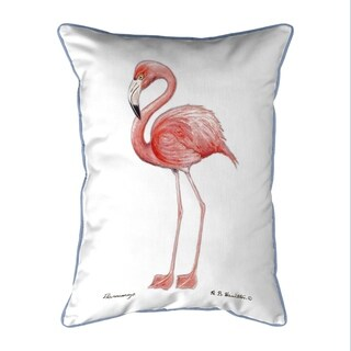 Flamingo White Background Large Corded Pillow 16x20