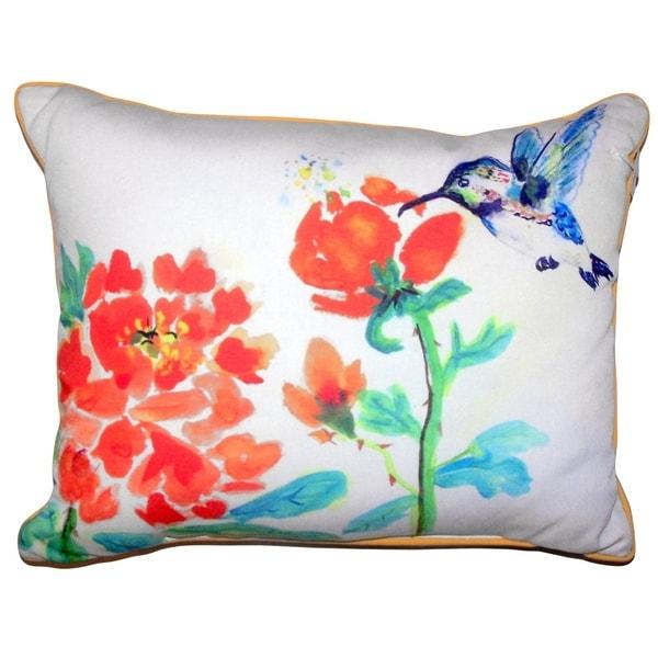 Hummingbird & Red Flower Large Pillow 16x20