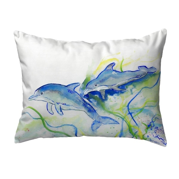 Betsy's Dolphins Small No-Cord Pillow 11x14