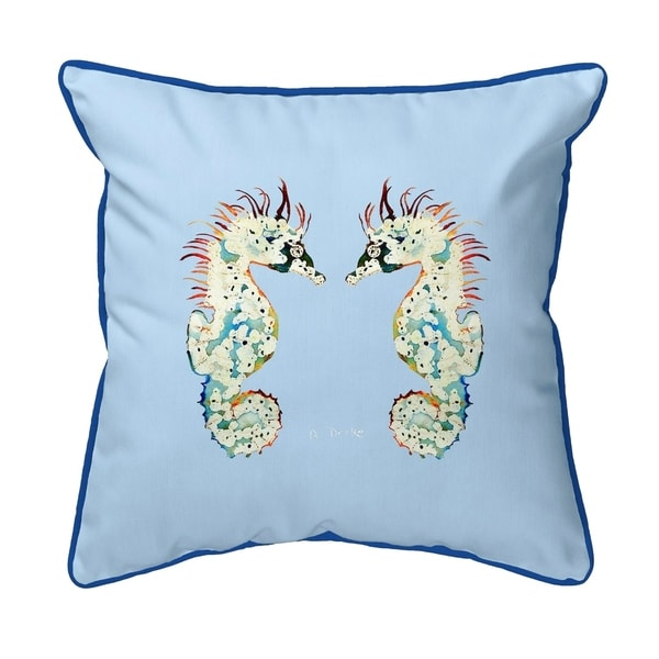 Betsy's Seahorses Light Blue Background Large Corded Pillow 18x18