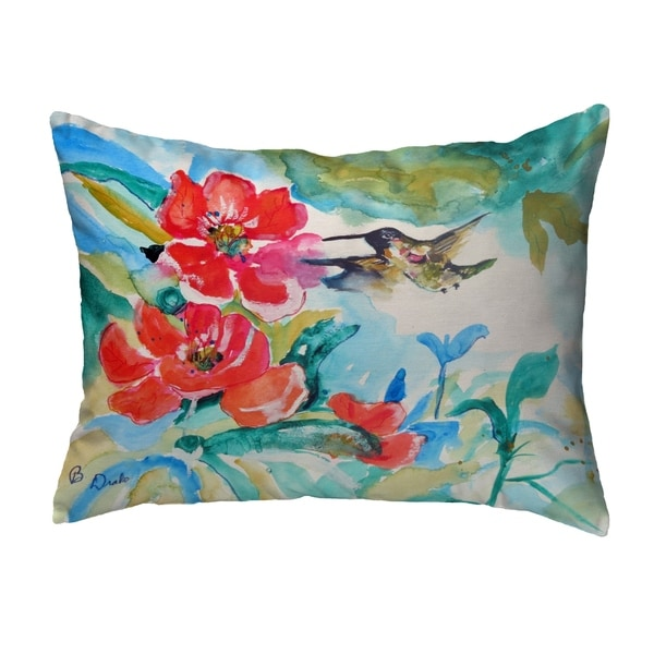 Hummingbird & Red Flower Noncorded Pillow 11x14