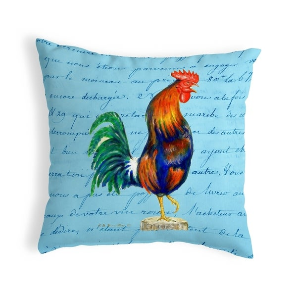 Blue Rooster Script - Small No-Cord Pillow 12x12
