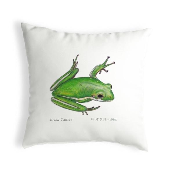 Green Treefrog Small No-Cord Pillow 12x12