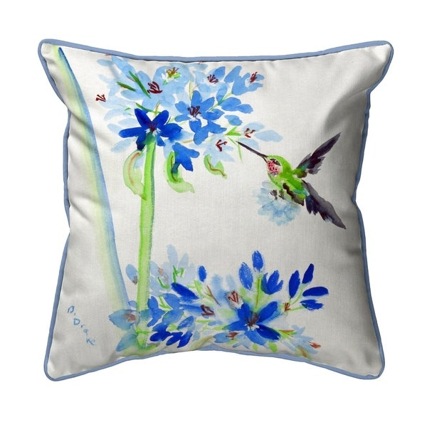 Hummingbird & Blue Flowers Large Pillow 18x18
