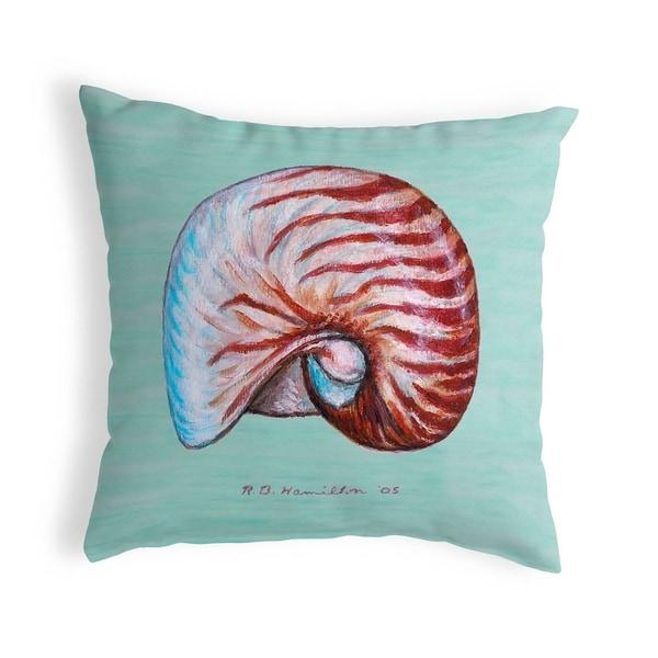 Nautilus Shell - Teal Small No-Cord Pillow 12x12