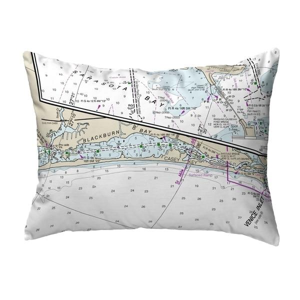 Blackburn Bay, FL Nautical Map Noncorded Pillow 11x14