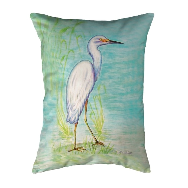 Snowy Egret Small No-Cord Pillow 11x14