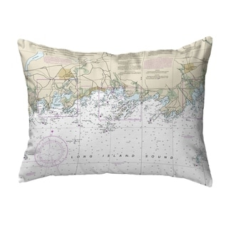 Long Island Sound, NY Nautical Map Noncorded Pillow 11x14