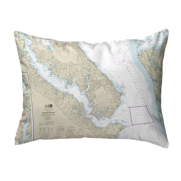 Chesapeake Bay, MD Nautical Map Noncorded Pillow 11x14