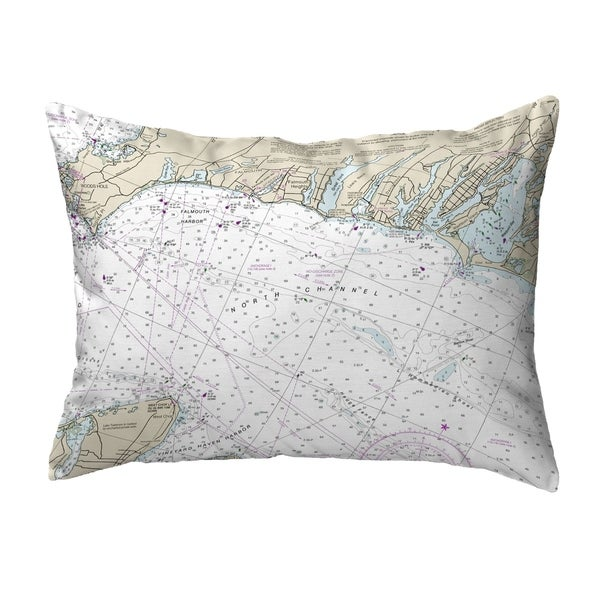 Falmouth Harbor, MA Nautical Map Noncorded Pillow 11x14