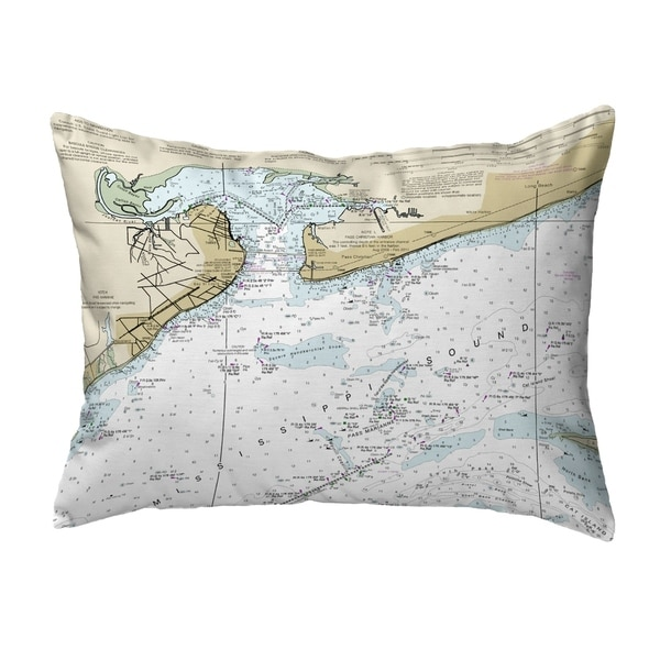 St Louis Bay, MS Nautical Map Noncorded Pillow 11x14