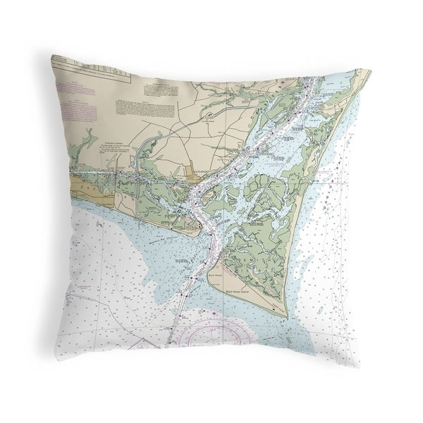Baldhead Island, NC Nautical Map Noncorded Pillow 12x12