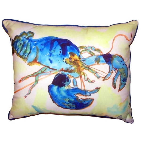 Green-Blue Lobster Small Outdoor/Indoor Pillow 11x14