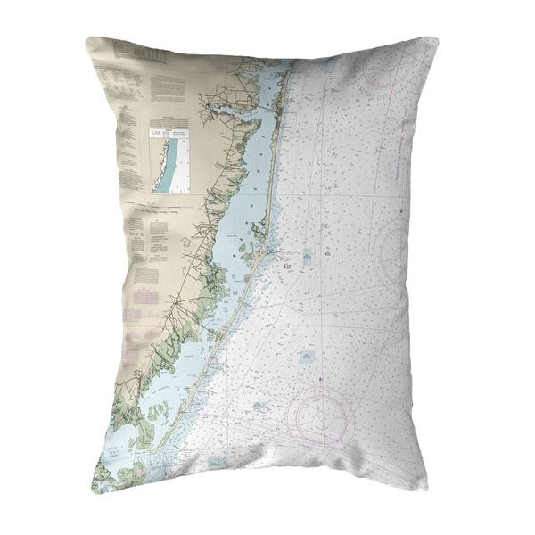 Long Beach, NJ Nautical Map Noncorded Pillow 11x14