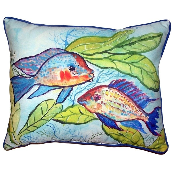 Pair of Fish Small Outdoor/Indoor Pillow 11x14