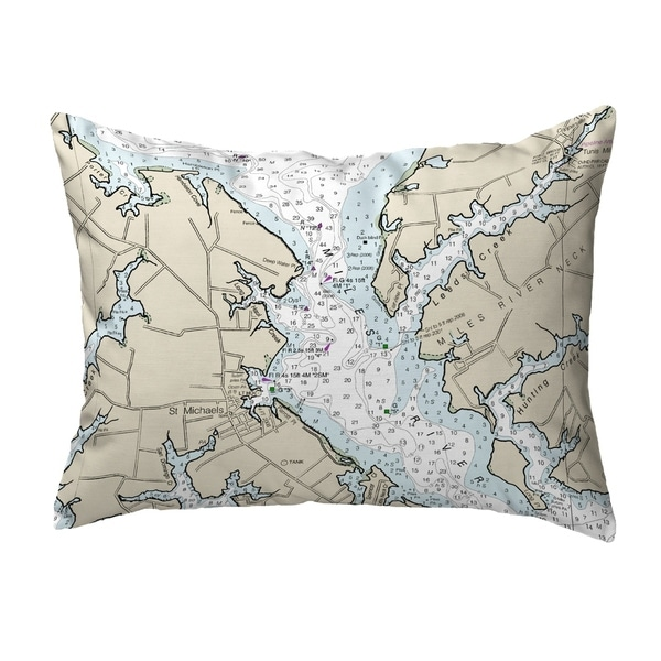 Chesapeake Bay - Miles River, MD Nautical Map Noncorded Pillow 11x14