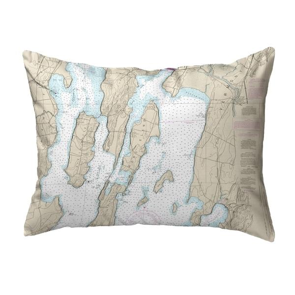North Hero Island #2, VT Nautical Map Noncorded Pillow 11x14